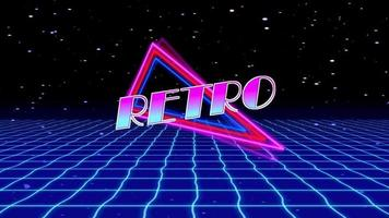 Retrowave skyline scene with neon lights and low poly territory. 80s retro foundation circle liveliness. Retro Futurism Background. 3D Render. Retro wave skyline scene, neon lights. Consistent circle video