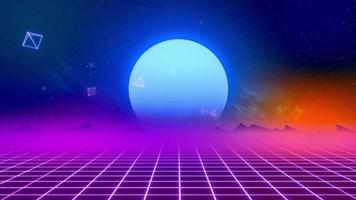 80's retro style background with light moon illusion sunset from 3d render looped 4k video footage