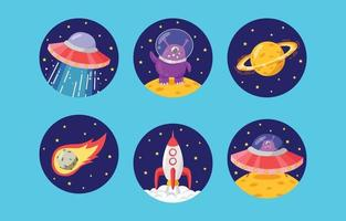 UFO Spaceship and Alien at Outer Space vector
