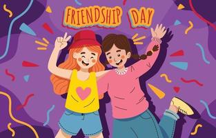 Best Friends Celebrating Friendship Day vector