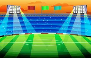 estadio de fútbol lleno de gente en el juego de la tarde vector