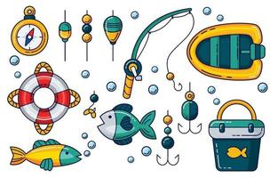 Fishing Activity Icon Set vector