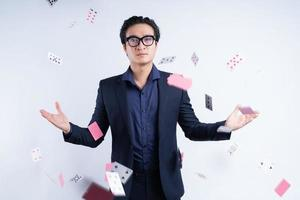 Asian businessman with gambling addiction photo
