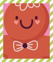 merry christmas, cute gingerbread cookie cartoon celebration card vector
