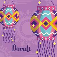 happy diwali festival, mandala background with lanterns decoration card detailed vector