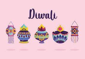 happy diwali festival, festive celebration light with diya lamps and lanterns detailed vector