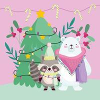merry christmas, cute polar bear raccoon tree lights decoration animals cartoon vector