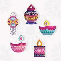 happy diwali festival, set icons of lanterns and diya lamps detailed vector