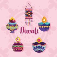 happy diwali festival, diya lamps lanterns ornament decoration card detailed vector