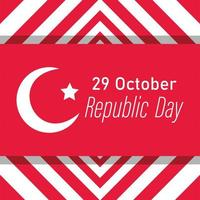 turkey republic day, banner on striped geometric background flag vector
