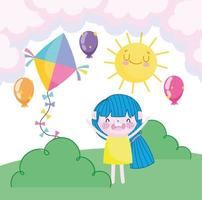 childrens day, happy girl with kite balloons sun sky and grass cartoon vector