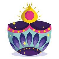 happy diwali festival, diya lamp light flame ornament detailed vector