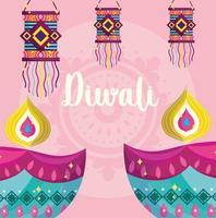 happy diwali festival, diya lamps and hanging lanterns decoration detailed vector