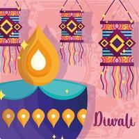 happy diwali festival, diya lamp and lanterns decoration poster detailed vector