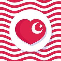 turkey republic day, flag national shaped heart on waving lines background vector