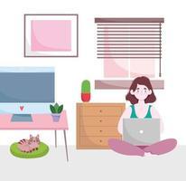 espacio de trabajo de la oficina en casa, la mujer trabaja en casa con una computadora portátil y un gato en el cojín vector