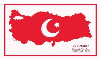 turkey republic day, moon and star on map country banner vector