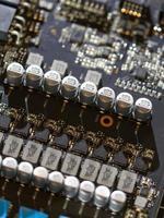 Electronic circuits close-up photo