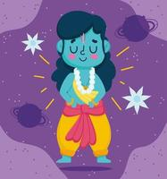 happy dussehra festival of india, lord rama cartoon character, traditional religious ritual vector