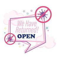 reopening, lettering we have returned open, speech bubble clouds, coronavirus covid 19 vector