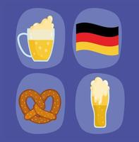 oktoberfest festival, icons geman flag beers and pretzel, celebration traditional vector