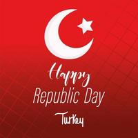 turkey republic day, flag lettering on red grid background vector