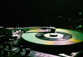 Turntable used by DJs for making electronic music photo