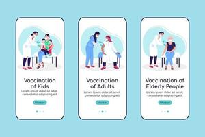 Vaccination of population onboarding mobile app screen flat vector template