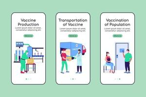Vaccine manufacturing onboarding mobile app screen flat vector template