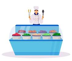 Hotel smorgasbord flat color vector illustration. Served buffet style table. Food court with fresh vegetables. Catering service. Restaurant worker. Chef isolated cartoon character on white background