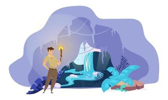 Explorer flat vector illustration. Man discover hidden waterfall. Male search inside mountain tunnel. Boy stand with torch in cave. Fantastical nature scene. Tourist cartoon character