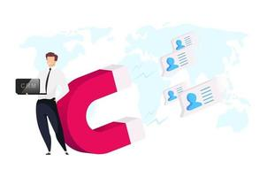 Sales automation flat concept vector illustration. Businessman with laptop 2D cartoon character for web design. CRM system. Male in official clothing. World map. Magnet attracts clients creative idea