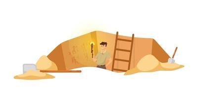 Ilustración de vector plano de excavación. investigador masculino en sitio arqueológico, hombre observa pinturas murales. Descubrimiento de cuadros de pared egipcios. agujero de tierra en África. fondo de dibujos animados de expedición