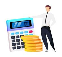 Customer relationship management flat concept vector illustration. Businessman with calculator 2D cartoon character for web design. Smiling male in official wear. Profit growth creative idea