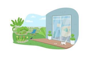 House backyard patio 2D vector web banner