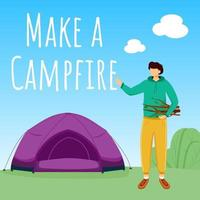 Make campfire social media post mockup. Camping in forest. Active vacation. Advertising web banner design template. Booster, content layout. Promotion poster, print ads with flat illustrations vector