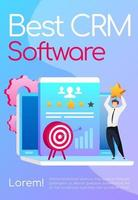 Best CRM software poster flat vector template. Businessman keeps star. Arrow in target. Brochure, booklet one page concept design with cartoon characters. Marketing automation flyer, leaflet