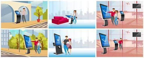 Modern self service kiosks flat color vector illustrations set. People using interactive information boards cartoon characters. Commercial digital panels, innovative terminals with touch screen