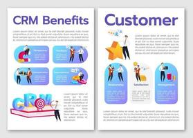 CRM benefits flat vector brochure template. Perspective and feedback. Flyer, booklet, printable leaflet design. Communication. Magazine page, cartoon annual reports, infographic posters, text space