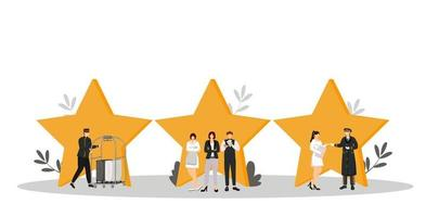 Hospitality service flat color vector illustration. Porter, resort manager, doorman. Housekeeper, waiter, administrator. Rating stars. Hotel staff isolated cartoon characters on white