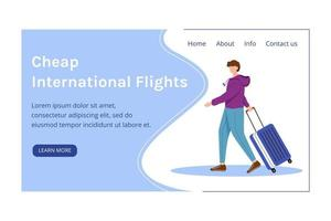 Cheap international flights landing page vector template. Best travel deals website interface with flat illustrations. Budget tourism homepage layout. Low cost flights banner, webpage cartoon concept