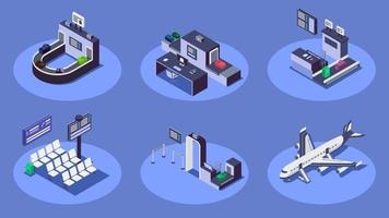 Airport isometric color vector illustrations set. Modern airline company services 3d concept isolated on blue background. Check in counter, luggage scanner, commercial airplane and security checkpoint