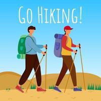 Go hiking social media post mockup. Couple on a mountain trip. Active vacation. Advertising web banner design template. Social media booster. Promotion poster, print ads with flat illustrations vector