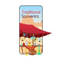 Egyptian traditional souvenirs cartoon smartphone vector app screen. Arabic bazaar. Mobile phone display with flat character design mockup. Souk, hookah local store application telephone interface