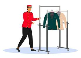 Porter in red uniform flat color vector illustration. Bellman carrying cart with clothes. Hotel staff with equipment, service worker. Bellhop isolated cartoon character on white background