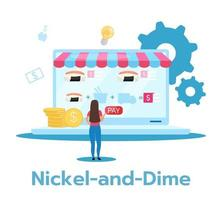 Nickel-and-dime flat vector illustration. Lowest price strategy. Selling low-priced products and service with additional charges. Business model. Isolated cartoon character on white background
