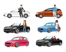 Happy auto owners flat color vector faceless characters set. Young men and women with personal transport. People standing by cars isolated cartoon illustrations on white background