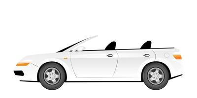 White cabriolet cartoon vector illustration. Elegant summer car without roof flat color object. Luxurious transport vehicle. Stylish personal automobile isolated on white background