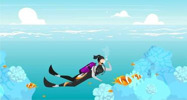 Scubadiving flat flat vector illustration. Underwater swimming sportswoman. Deep ocean diving. Sea wildlife. Outdoor activities. Summer vacation. Scuba diver cartoon character on turquoise background