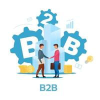 Business-to-business model flat vector illustration. B2B. Commercial transaction. Selling products, services. Businessmen shake hands. Cooperation, partnership. Isolated cartoon character on white